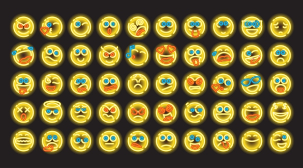 Neon Color Line Icon Set of bubble emoticons for web and mobile.