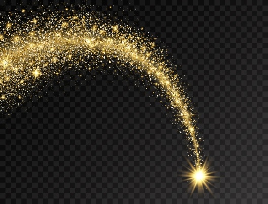 Magic Shining Gold Star With Dust Tail. Star Dust Trail With Gli