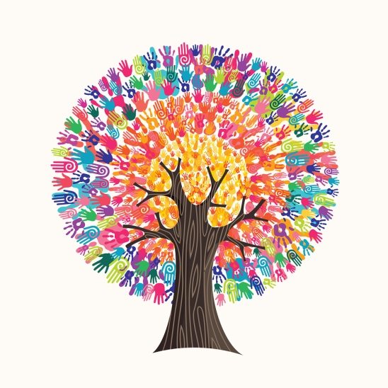 Tree Made Of Colorful Human Hands In Branches Creates A Vibrant