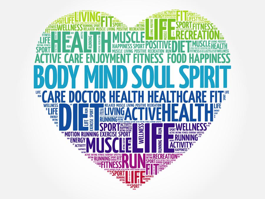 Body Mind Soul Spirit Heart Word Cloud, Fitness, Sport, Health C