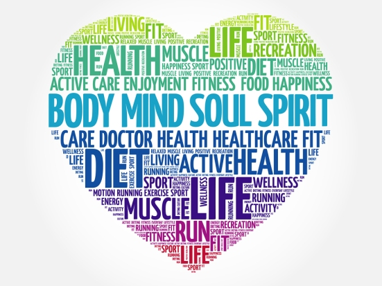 Body Mind Soul Spirit Heart Word Cloud, Fitness, Sport, Health C