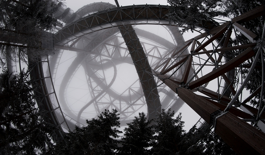 Mystic Top View Of A Roller Coaster In Black And White Style