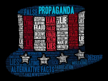Propaganda Word Cloud on a black background.