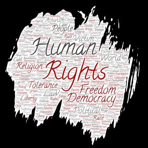 Conceptual human rights political freedom, democracy paint brush