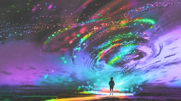 Little Girl Standing In Front Of Fantasy Cosmic Storm, The Black